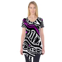 Purple, black and white abstract art Short Sleeve Tunic