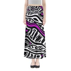 Purple, black and white abstract art Maxi Skirts