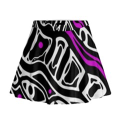 Purple, black and white abstract art Mini Flare Skirt