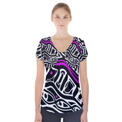 Purple, black and white abstract art Short Sleeve Front Detail Top