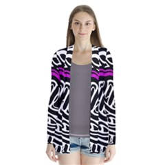 Purple, Black And White Abstract Art Drape Collar Cardigan