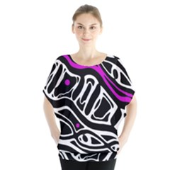 Purple, black and white abstract art Blouse