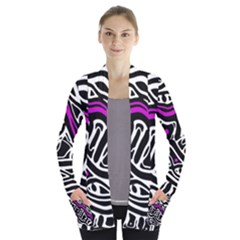 Purple, black and white abstract art Women s Open Front Pockets Cardigan(P194)