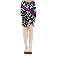 Purple, black and white abstract art Midi Wrap Pencil Skirt