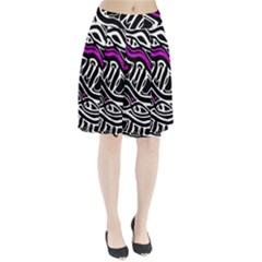 Purple, black and white abstract art Pleated Skirt