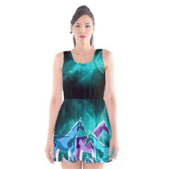 Horses under a galaxy Scoop Neck Skater Dress