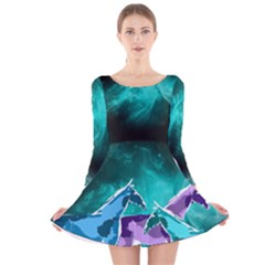 Horses under a galaxy Long Sleeve Velvet Skater Dress