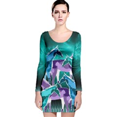 Horses Under A Galaxy Long Sleeve Velvet Bodycon Dress