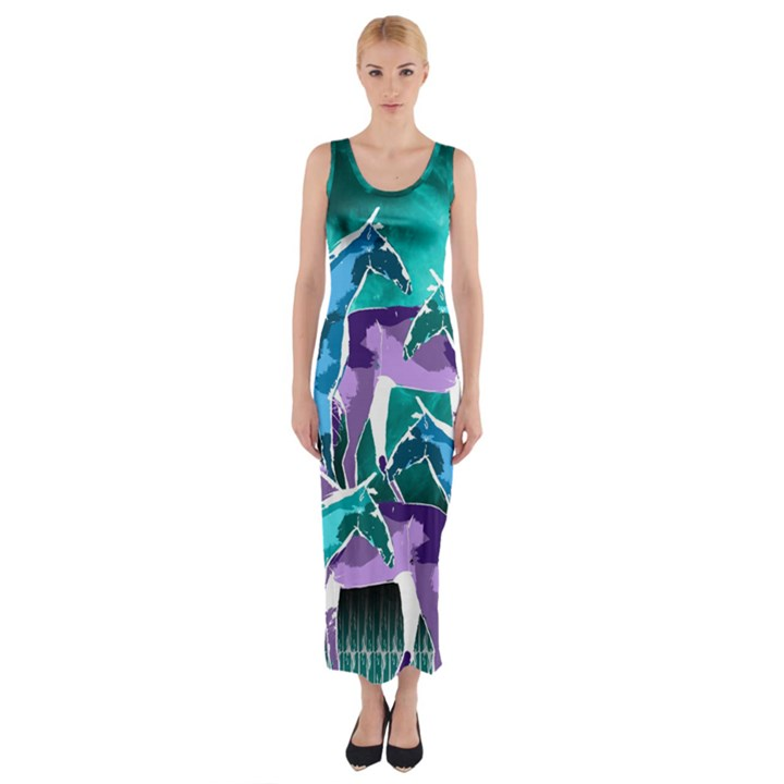 Horses under a galaxy Fitted Maxi Dress