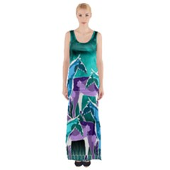 Horses Under A Galaxy Maxi Thigh Split Dress