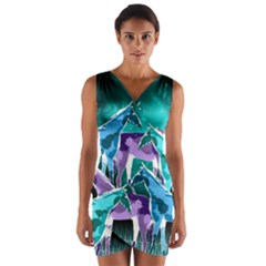 Horses Under A Galaxy Wrap Front Bodycon Dress