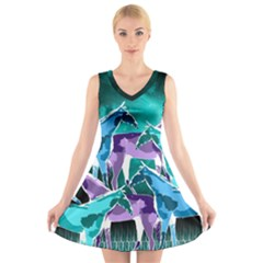 Horses under a galaxy V-Neck Sleeveless Dress
