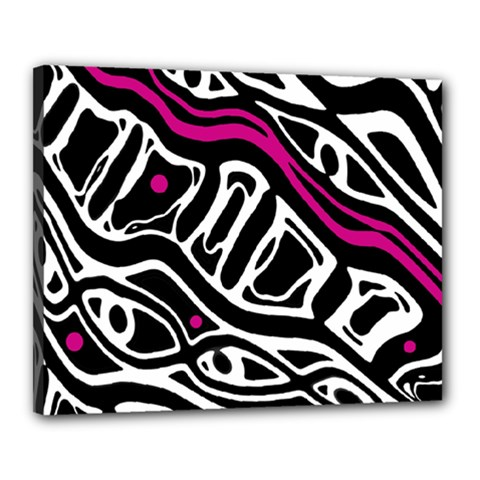 Magenta, black and white abstract art Canvas 20  x 16