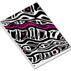 Magenta, black and white abstract art Large Memo Pads