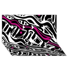Magenta, black and white abstract art Twin Hearts 3D Greeting Card (8x4)