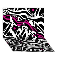 Magenta, black and white abstract art LOVE 3D Greeting Card (7x5)