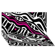 Magenta, black and white abstract art Twin Heart Bottom 3D Greeting Card (8x4)