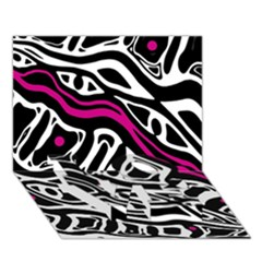 Magenta, black and white abstract art LOVE Bottom 3D Greeting Card (7x5)