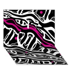 Magenta, black and white abstract art Apple 3D Greeting Card (7x5)