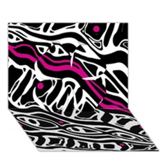 Magenta, black and white abstract art Clover 3D Greeting Card (7x5)