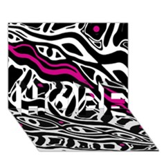Magenta, black and white abstract art HOPE 3D Greeting Card (7x5)
