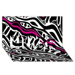 Magenta, black and white abstract art HUGS 3D Greeting Card (8x4)