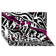 Magenta, black and white abstract art Best Wish 3D Greeting Card (8x4)