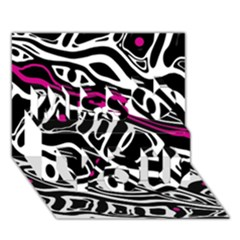 Magenta, black and white abstract art Miss You 3D Greeting Card (7x5)