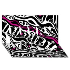 Magenta, black and white abstract art Merry Xmas 3D Greeting Card (8x4)