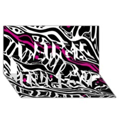 Magenta, black and white abstract art Laugh Live Love 3D Greeting Card (8x4)