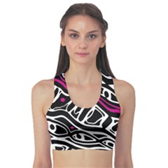 Magenta, black and white abstract art Sports Bra