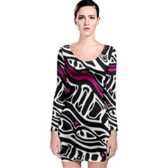 Magenta, black and white abstract art Long Sleeve Bodycon Dress