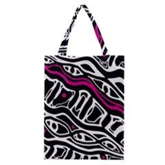 Magenta, black and white abstract art Classic Tote Bag