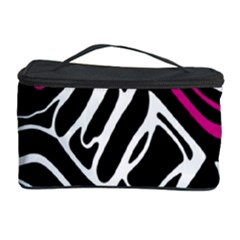 Magenta, black and white abstract art Cosmetic Storage Case