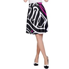 Magenta, black and white abstract art A-Line Skirt