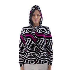 Magenta, black and white abstract art Hooded Wind Breaker (Women)
