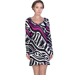 Magenta, black and white abstract art Long Sleeve Nightdress