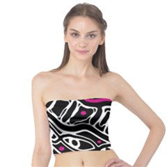Magenta, black and white abstract art Tube Top
