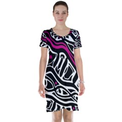 Magenta, black and white abstract art Short Sleeve Nightdress