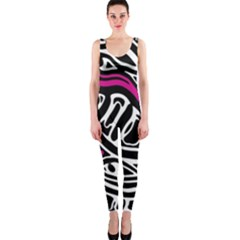 Magenta, black and white abstract art OnePiece Catsuit