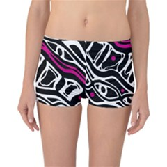 Magenta, black and white abstract art Reversible Boyleg Bikini Bottoms