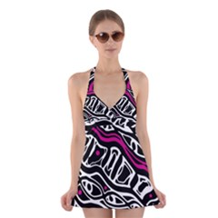 Magenta, black and white abstract art Halter Swimsuit Dress