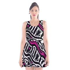 Magenta, Black And White Abstract Art Scoop Neck Skater Dress