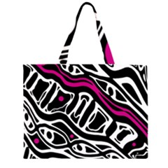 Magenta, black and white abstract art Large Tote Bag