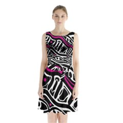 Magenta, Black And White Abstract Art Sleeveless Waist Tie Dress