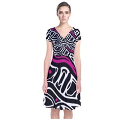 Magenta, Black And White Abstract Art Short Sleeve Front Wrap Dress