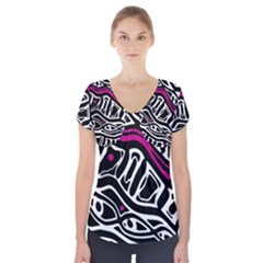 Magenta, Black And White Abstract Art Short Sleeve Front Detail Top