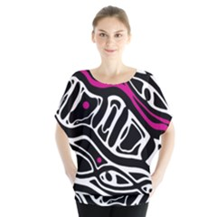 Magenta, black and white abstract art Blouse