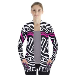Magenta, black and white abstract art Women s Open Front Pockets Cardigan(P194)