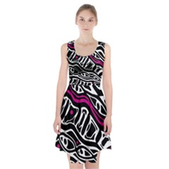 Magenta, black and white abstract art Racerback Midi Dress